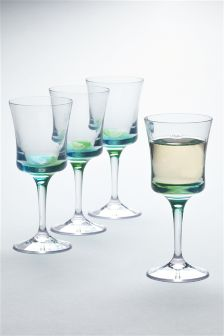 Set Of 4 Ombre Plastic Wine Glasses