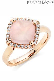 Beaverbrooks 9ct Rose Gold Diamond Rose Quartz Ring