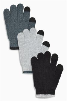 Touch Screen Gloves Three Pack (Older Boys)