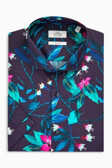 Bird Print Short Sleeve Slim Fit Shirt