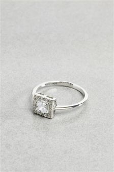 Crystal Effect Cushion Ring