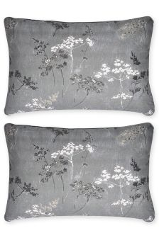 Set Of 2 Cotton Rich Cow Parsley Housewife Pillowcases