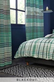 Teal Check Blackout Eyelet Curtains