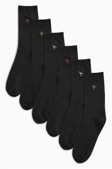Motif Ankle Socks Six Pack