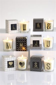 White Jasmine Monogram Candle