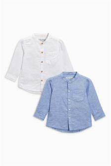 Long Sleeve Linen Blend Shirts Two Pack (3mths-6yrs)