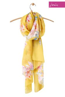 Joules Yellow Floral Woven Wensley Scarf