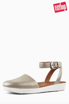 FitFlop™ Metallic Silver Leather Cova Closed Toe Sandal