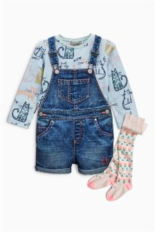 Dungaree, T-Shirt And Tights Set (3mths-6yrs)