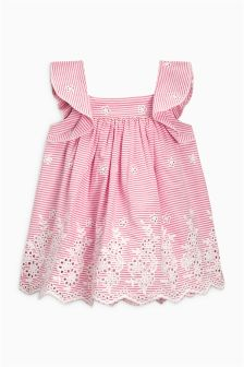 Broderie Stripe Dress (0mths-2yrs)