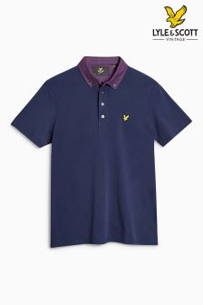 Lyle & Scott Navy Check Collar Polo