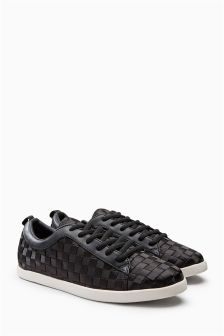 Lace-Up Satin Weave Trainers