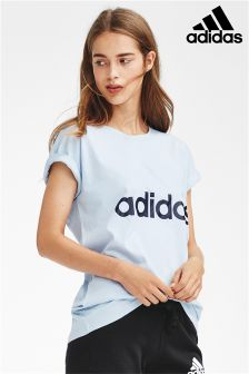 adidas Blue Essential Linear Logo Tee