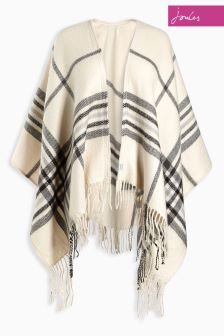 Joules Innis Cream Check Classic Wrap Scarf