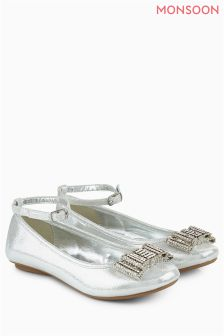 Monsoon Silver Bow Ballerina Shoe