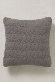 Grey Quilted Circles Cushion