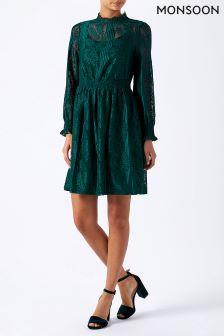 Monsoon Green Constanza Lace Dress