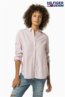 Tommy Hilfiger Denim White/Pink Basic Stripe Shirt