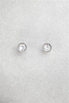 Cubic Zirconia Cushion Set Stud Earrings