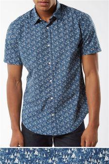Short Sleeve Boat Print Shirt