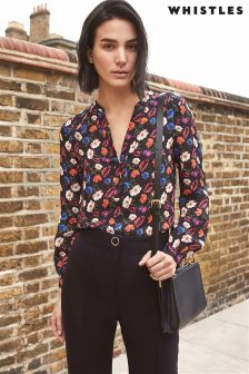 Whistles Blue Multi Pansy Print Top
