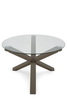 Painted Wood And Glass Round Dining Table