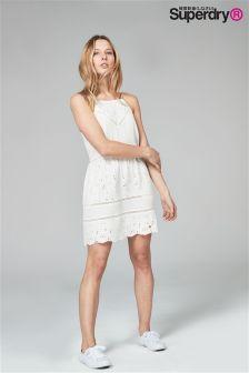 Superdry Lilah White Schiffli Dress