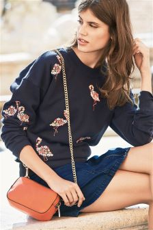 Flamingo Embroidered Sweat Top