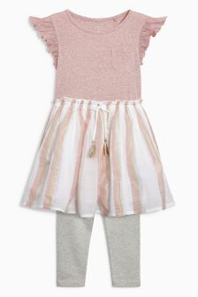 Ruffle Sleeve Dress And Leggings Set (3-16yrs)