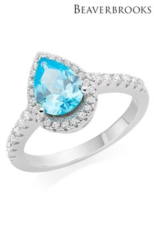 Beaverbrooks Silver Blue Cubic Zirconia Pear Shaped Halo Ring