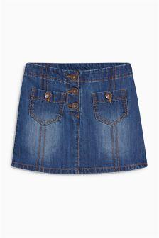 Denim Button Pocket Skirt (3-16yrs)
