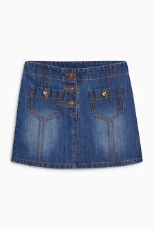 Denim Button Pocket Skirt (3-16yrs)