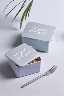 Set Of 2 Slogan Lunch Boxes