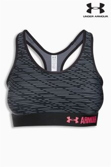 Under Armour Black/Pink Armour Mid Support Printed Bra