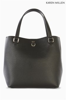 Karen Millen Black Embossed Square Bag