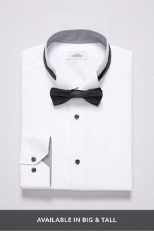 Wing Collared Slim Fit Shirt And Bow Tie Set