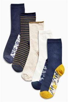 Floral Footbed Ankle Socks Five Pack