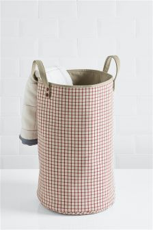 Checked Canvas Laundry Bag