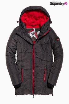 Superdry Black And Red Long Puffa Jacket
