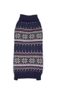Blue Fairisle Pattern Knitted Dog Jumper
