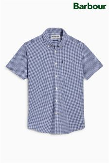 Barbour® Navy Hector Check Short Sleeve Shirt