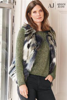 Armani Jeans Multi Faux Fur Gilet