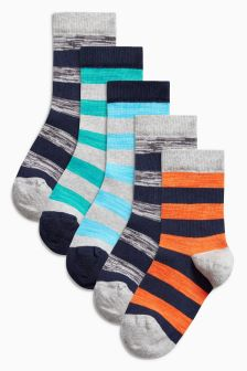 Fluro Rugby Stripe Socks Five Pack (Older Boys)