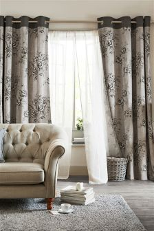 Hand Drawn Peony Print Eyelet Curtains