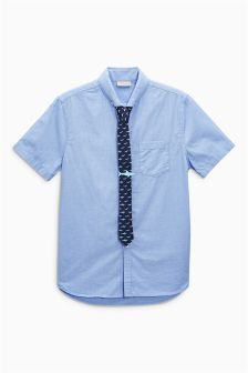 Short Sleeve Shirt And Tie Set (3-16yrs)