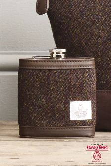Hip Flask With Harris Tweed Fabric Case
