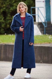 Tommy Hilfiger Blue Cher Wool Coat