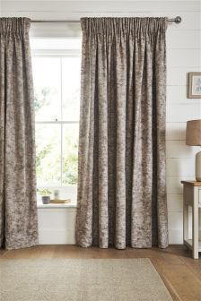 Country Luxe Leaf Trail Jacquard Linen Pencil Pleat Curtains