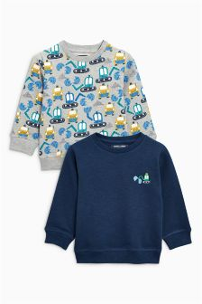 Digger Print Crew Tops Two Pack (3mths-6yrs)