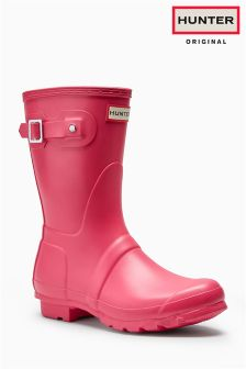 Hunter Original Bright Pink Matte Short Welly